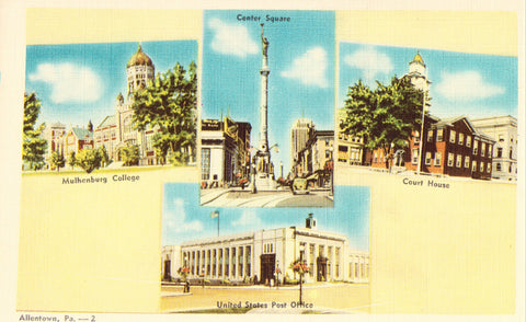 Front of Multi View Postcard of Allentown,Pennsylvania