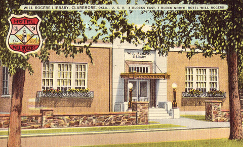 Will Rogers Library - Claremore,Oklahoma.Linen postcard front