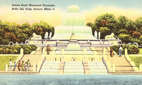 Front of linen postcard James Scott Memorial Fountain,Belle Isle Park - Detroit,Michigan