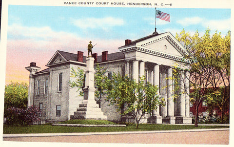 Linen postcard front Vance County Court House - Henderson,North Carolina