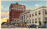 Linen postcard front U.S. Post Office and Hotel Yancey - Grand Island,Nebraska