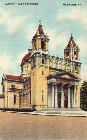 Linen postcard front Sacred Heart Cathedral - Richmond,Virginia