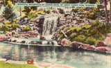 Linen postcard front Waterfalls on Lagoon Drive - St. Louis' Forest Park - Missouri