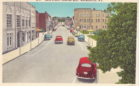 Main Street,Looking West-Waynesville,North Carolina - Cakcollectibles - 1