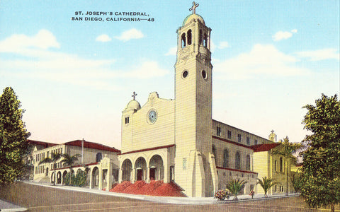 Linen postcard front St. Joseph's Cathedral - San Diego,California