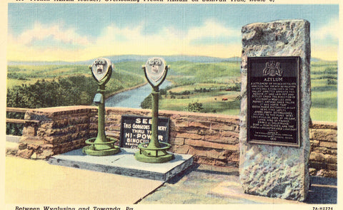 Linen postcard front French Azilum Marker on Sullivan Trail,Route 6 - Pennsylvania