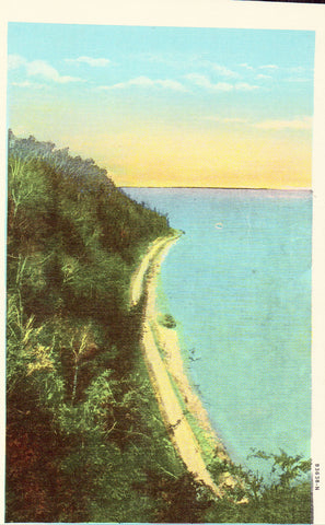Linen postcard front North Boulevard from Arch Rock -Mackinac Island,Michigan
