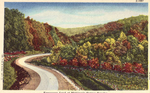 Linen Postcard Front - Keweenaw Land of Michigan's Copper Country
