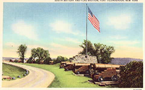 Linen postcard front South Battery and Flag Bastion - Fort Ticonderoga,New York