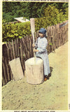 Linen postcard front Indian Woman Grinding Maize - Great Smoky Mountains National Park