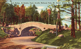 Linen postcard front Arch Bridge at Bubble Pond - Acadia National Park,Mt. Desert Island,Maine
