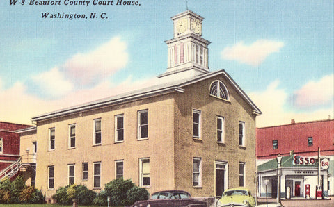 Linen postcard front Beaufort County Court House - Washington,North Carolina