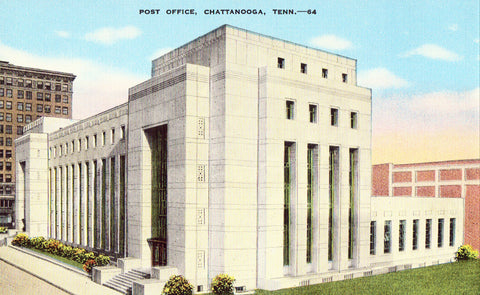 Linen postcard front Post Office - Chattanooga,Tennessee