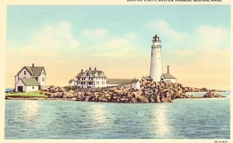 Linen Postcard Front - Boston Light - Boston Harbor,Boston,Massachusetts