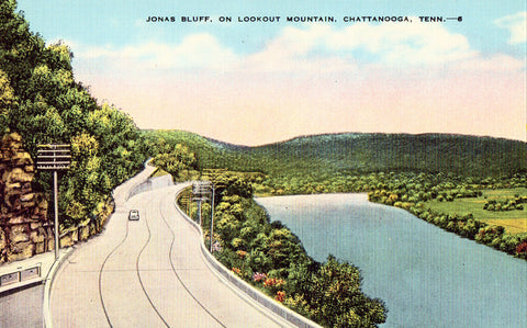 Linen postcard front Jonas Bluff on Lookout Mountain - Chattanooga,Tennessee
