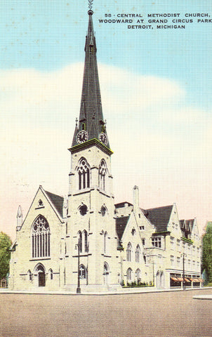 Linen postcard front Central Methodist Church - Detroit,Michigan