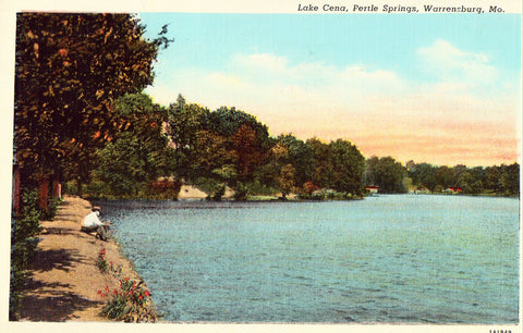 Linen postcard front Lake Cena,Pertle Springs - Warrensburg,Missouri