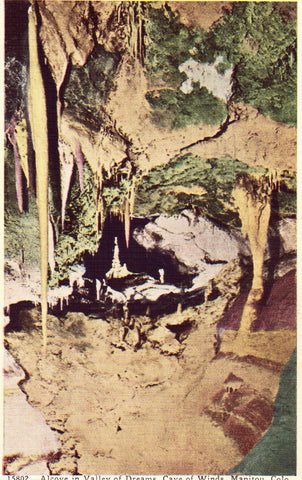 Linen postcard front Alcove in Valley of Dreams,Cave of The Winds - Manitou,Colorado