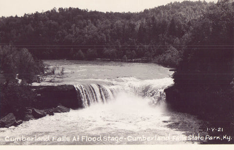 RPPC-Cumberland Falls at Flood Stage-Cumberland Falls State Park-Kentucky