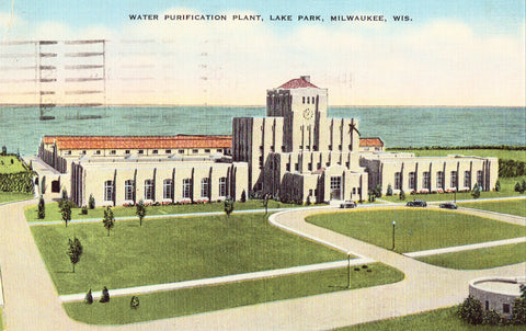 Linen postcard front Water Purification Plant,Lake Park - Milwaukee,Wisconsin