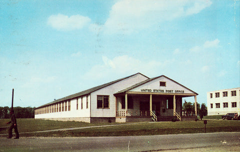 Vintage Postcard Front - Post Office at Sampson Air Force Base - Geneva,New York