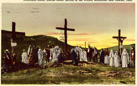 Vintage Postcard Front Crucifixion Scene,Sunrise Easter Service in The Wichita Mts. near Lawton,Oklahoma