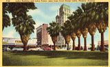 Linen postcard front Luhrs Building and Luhrs Tower Phoenix,Arizona