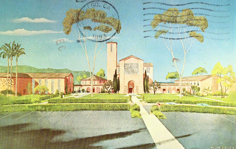 Vintage postcard front Master Plan of The Torrey Pines Christian Church - La Jolla,California