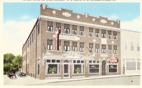 Linen postcard front Taylor Hotel on Dixie Highway - Elizabethtown,Kentucky