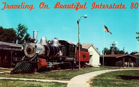 Vintage postcard front 1889 Baldwin Locomotive at Pioneer Village - Minden,Nebraska