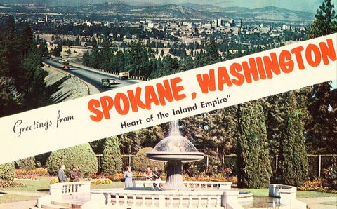 Vintage Postcard Front - Greetings from Spokane,Washington