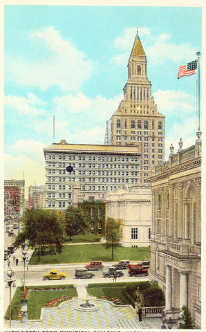 Vintage postcard front View North from Municipal Building - Hartford,Connecticut