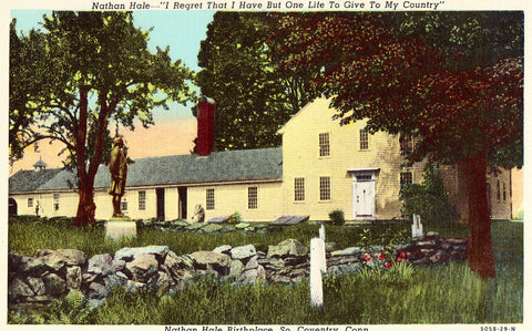 Linen postcard front Nathan Hale Birthplace - So. Coventry,Connecticut