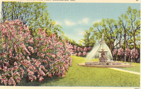 Linen postcard front Smith Monument,Brandywine Park - Wilmington,Delaware