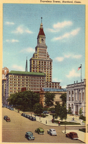 Linen postcard front Travelers Tower - Hartford,Connecticut