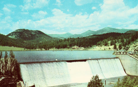 Evergreen Dam and Lake on Bear Creek in Denver Mountain Parks - Colorado.Vintage postcard front