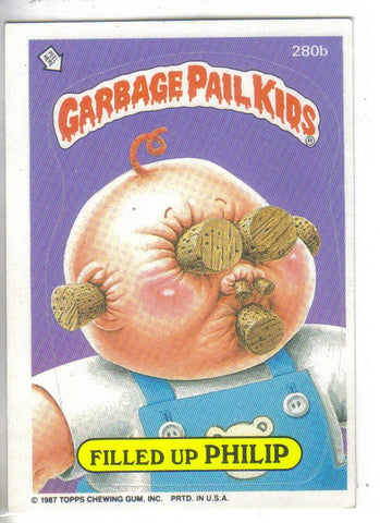 Garbage Pail Kids 1987 #280b Filled Up Philip Garbage Pail Kids