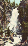 Linen postcard front Fish Creek Falls - Steamboat Springs - Colorado