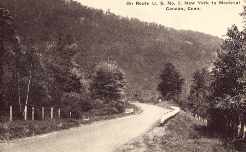 Vintage postcard front View on Route U.S. No. 7 - Canaan,Connecticut