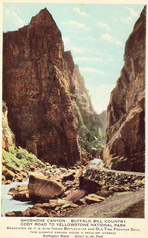 Old postcard front Shoshone Canyon,Cody Road to Yellowstone - Wyoming