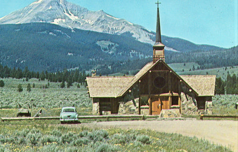 Vintage postcard front Soldier's Memorial Chapel and Lone Mountain - Gallatin Canyon,Montana