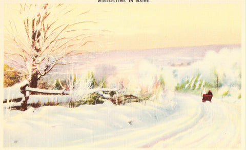 Linen Postcard Front- Winter Time in Maine