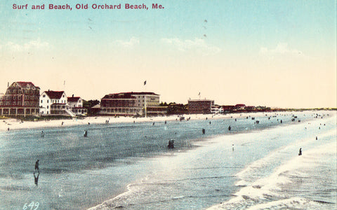 Old postcard front.Surf and Beach - Old Orchard,Maine