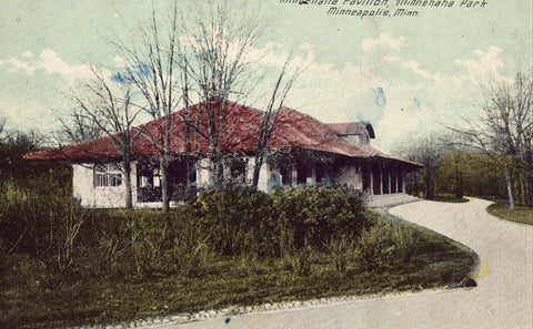 Old postcard front.Minnehaha Pavilion,Minnehaha Park - Minneapolis,Minnesota