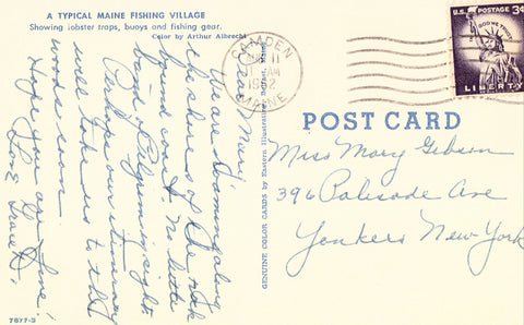 A Typical Maine Fishing Village Vintage Postcard