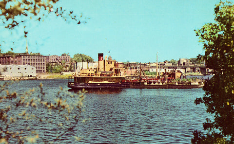 Front of vintage post card.Scene on The Penobscot River - Bangor,Maine
