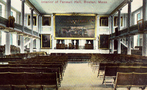 Vintage postcard front.Interior of Faneuil Hall - Boston,Massachusetts