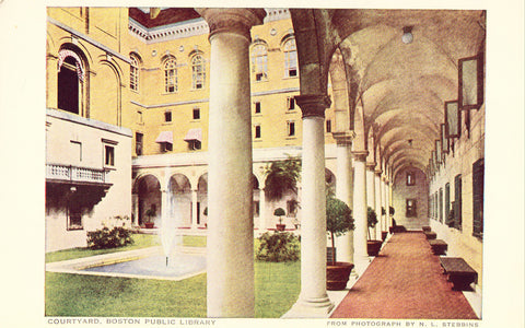 Vintage postcard front.Courtyard,Boston Public Library - Massachusetts