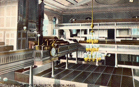 Vintage postcard front.Interior,Old South Church - Boston,Massachusetts
