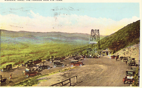 Vintage postcard front.The Famous Hair Pin Turn on Mohawk Trail - Massachusetts